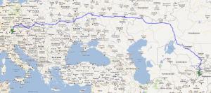 kürzeste Strecke von München nach Duschanbe