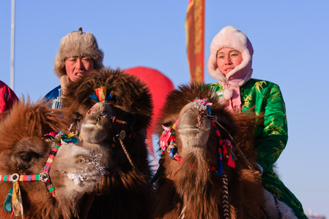 mongolische Kamelrennreiter